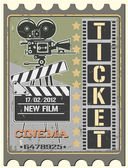 Ticket in cinema — Vettoriale Stock