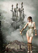 Warrior vrouw en draak — Stockfoto