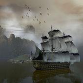 Nave sul mare — Foto Stock