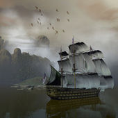 Ship on the sea — 图库照片