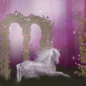 Horse in a roses garden — Stock Photo