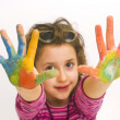 Stock Photo: Child hands painted