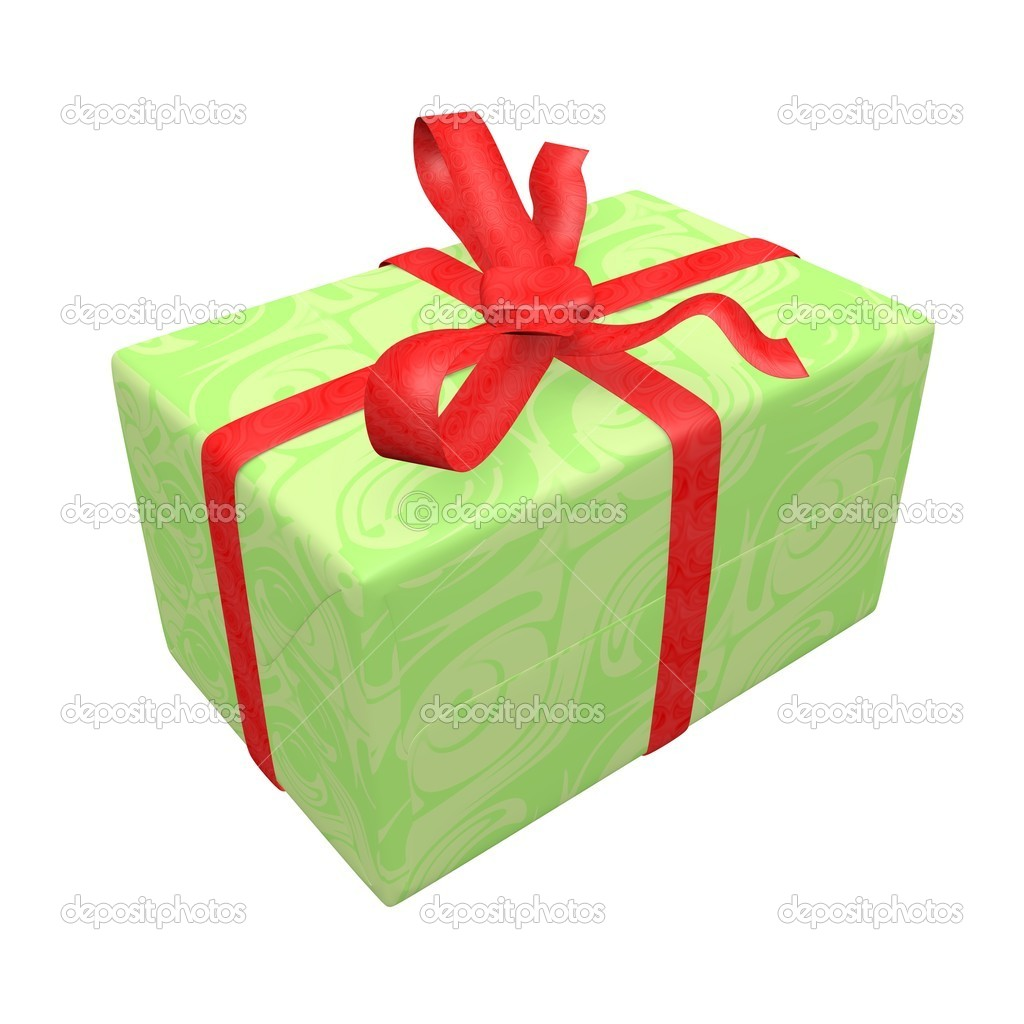Green gift box over white background. box, bow and ribbon. Isolated. — Stock Photo #5519351