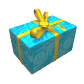 Blue gift box over white background. — Stock Photo
