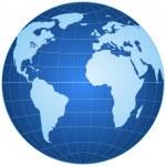 Blue globe isolated on white background — Stock Vector #6353917
