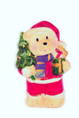 Bear with gift box and furtree — Stock Photo