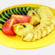 Fruit and vegetables on a plate — Stock Photo