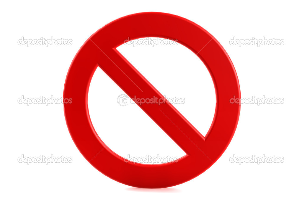 3d render forbidden sign on white background    #6316727