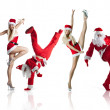 Stock Photo: Santas Clause break-dancers