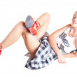The sexual girl in red shoes - Stock Photo