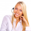 Girl the operator in headphones with a microphone — Stock Photo