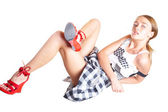 The sexual girl in red shoes — Stock Photo
