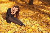 Po odpoczynku na jesień liści klonu w parku — Zdjęcie stockowe