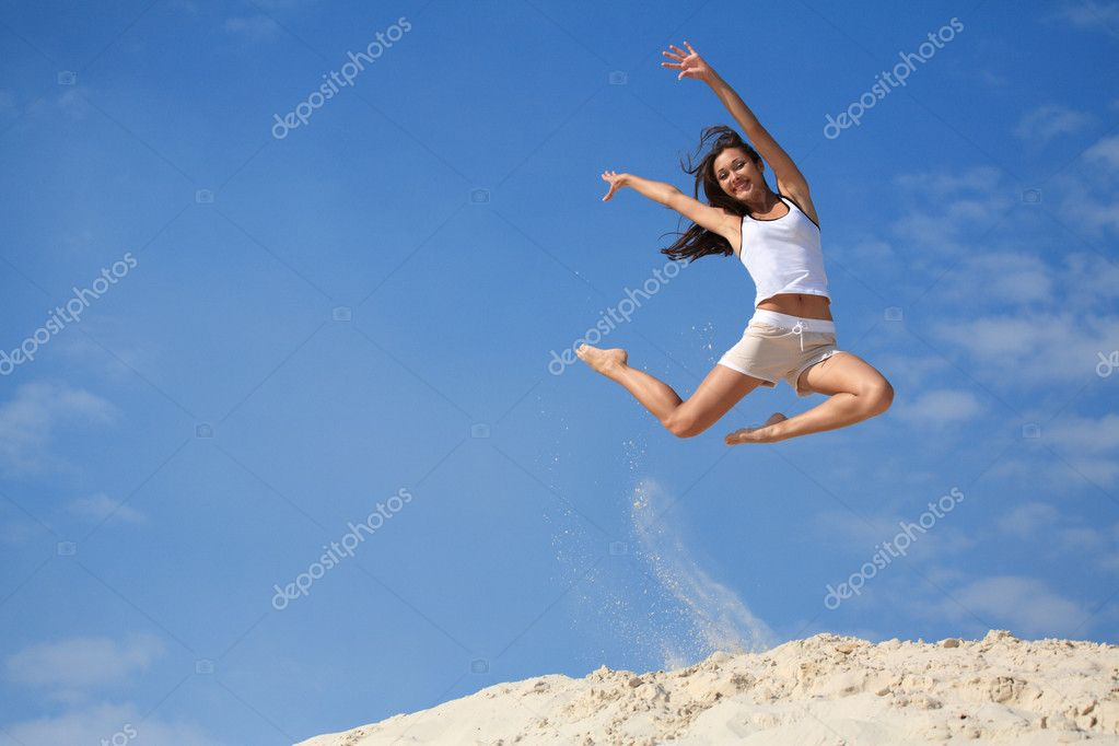 Beautiful jumping girl  Stock Photo #6007681