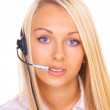 Foto Stock: Girl operator in headphones with microphone