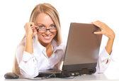 Blond teen holding eyeglasses — Stock Photo