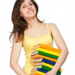 Smilling young girl with books — Stock Photo