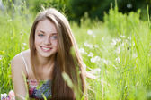 Close up portrait of happy young girl — Stock Photo