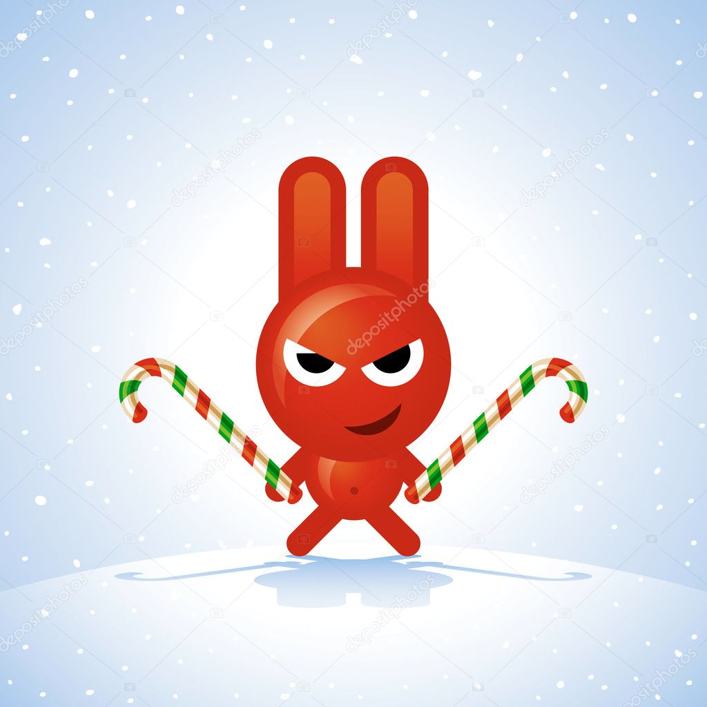 Cute Evil Bunny Drawing Evil christmas rabbit with