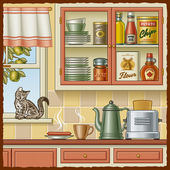 Retro kitchen — Stock Vector