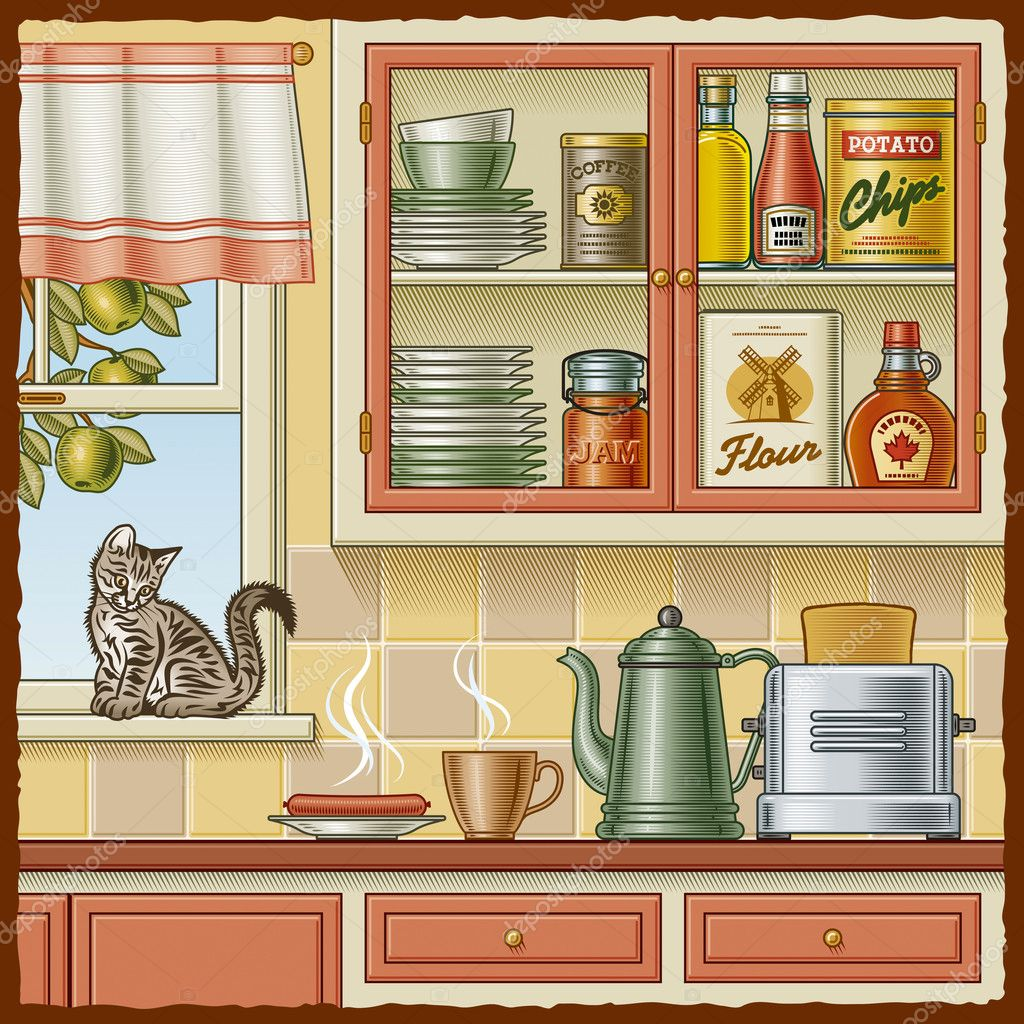 Retro kitchen with various foods and a kitten on the windowsill. Vector illustration in woodcut style with clipping mask. — Stock Vector #5794771
