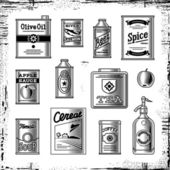 Retro grocery set black and white — Vetorial Stock