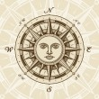 Vector de stock : Vintage sun compass rose