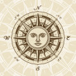 Vintage sun compass rose — Vector de stock
