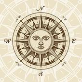 复古太阳罗盘玫瑰 — 图库矢量图片