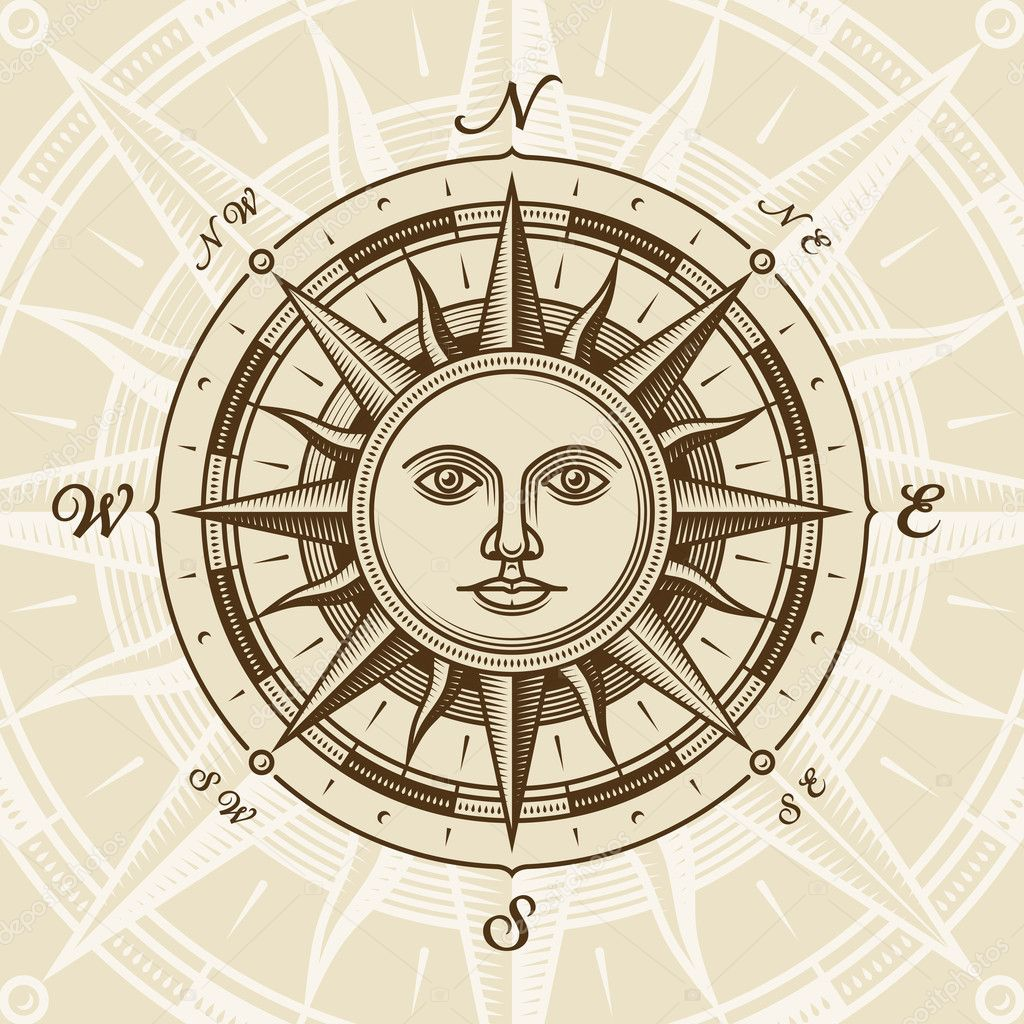 Vintage sun compass rose in woodcut style. Vector illustration with clipping mask.  Stock Vector #6123109