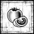 Retro tomato black and white - Stock Vector