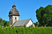 Old rural church in Scandinavia on a sunny day — Stock Photo