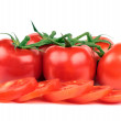 Stock Photo: Fresh tomatoes and tomatoes slices