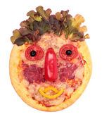 Funny pizza-gesicht — Stockfoto