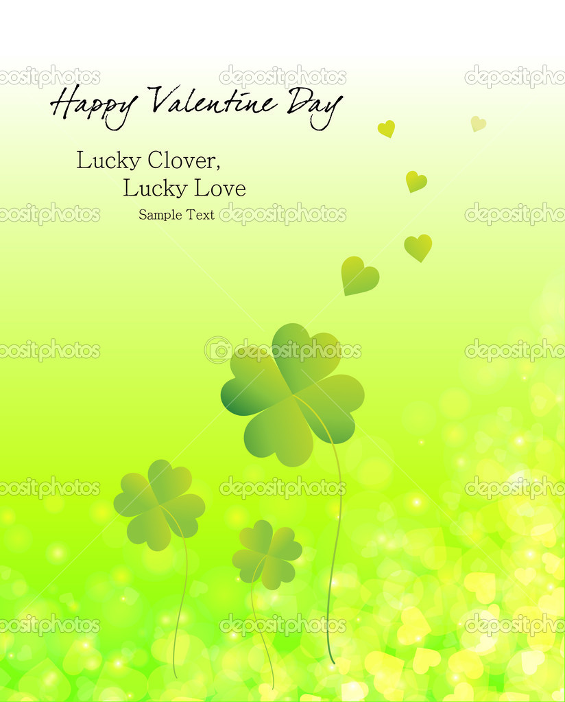 Valentine's Day, love's hearts lucky clover — Stock Vector #6662622