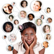 Stock Photo: african amercian business woman and social network