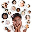 African Amercian business woman and social network — Stock Photo