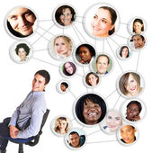 Man and social network — Stock Photo