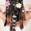 Bride with braids and roses — Stock Photo