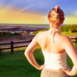 Blond woman in sunset light — Stock Photo