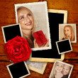 Valentine template with old pictures of a beautiful couple — Stock Photo