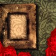 Grunge frame and roses — Stock Photo