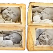 Grunge album pages with sepia pictures of a sleeping newborn baby — Stock Photo