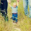 Family in tall grass — Stock Photo