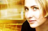 Blond woman on digital movement background — Stock Photo