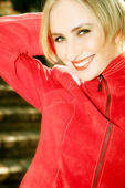 Happy blond in red — Stock Photo