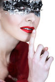 Silver mask and red lips. — Stock Photo