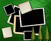 Fondo verde metálico con marcos. — Foto de Stock