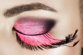 Eye with pink eyelashes. — Stock Photo