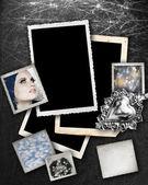 Fundo prateado com frames. — Fotografia Stock